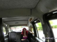 Monster tits redhead banged in a fake taxi