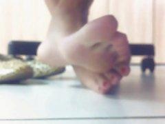 hot teen feet under table
