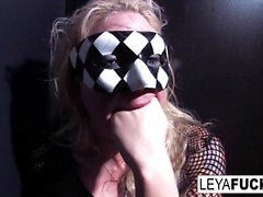 Hot blonde Leya takes a glass toy in her ass