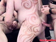 l'orso tatuata Chubby barebacked la in trio