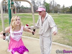 Teen cheerleader cumshot
