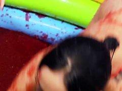 Hot sluts enjoy a kiddy jelly pool