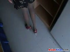 Asian Stepping On A Cock In High Heels
