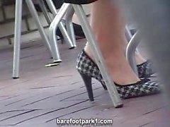 candid shoeplay toe wiggle