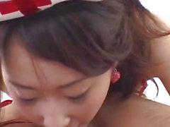 Koyuki Matsumoto nurse rubs 10-Pounder with feet