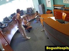 Voyeur office threeway with nurse and doctor