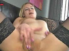 Blond kinky amateur Teen fingering her wet pink pussy