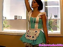 Petite latina entranced plays handjob