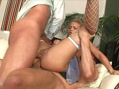 The maid does her job right by cleaning the juice out of her employers cocks