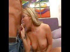 Busty blonde Cayden Moore poses and eats cock before getting drilled