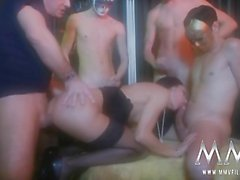 Sexy brunette gets big dicks in hardcore gangbang
