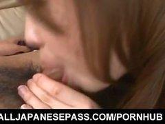 Aiko Hirose in stockings is so good at sucking and licking boner