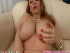 Mature redheaded housewife teases and licks his fat cock POV style