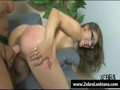 Zebra Lesbians - Nasty ebony babes love strap-on fuck 21