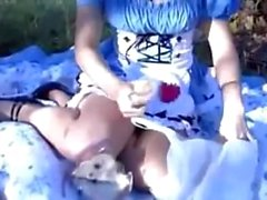 Alice in Wonderland Cosplay GF Has Public Sex with BF