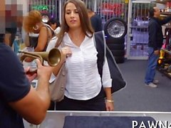 Cash strapped lady gulps down a pawnshop schlong