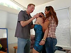 Chick in mini dress Casey Calvert gets her mouth fucked rough