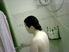 Young lover showering
