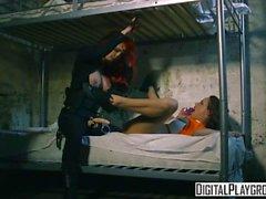 Blown Away: Sexy lesbian cop roughs up lesbian cell mate