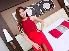 Small tits shemale Sumkit solo jerk off