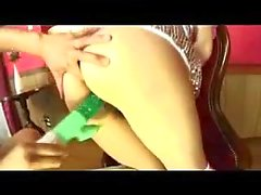 Busty Japanese maid toyed and rammed
