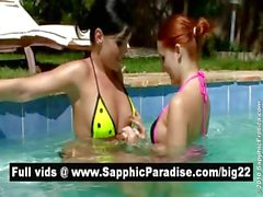 Superb brunette and redhead lesbians kissing and having lesbian sex