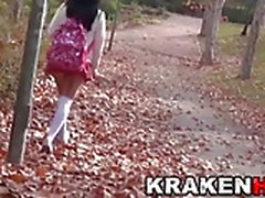 Sweet provocative schoolgirl at the park
