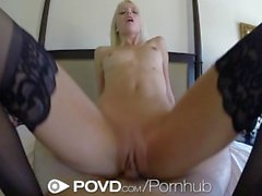 HD - POVD Lean Sierra Nevadah spreads her long legs for a big cock