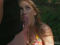MOM Horny couple blowjob outdoors multiple orgasms and squirting at home