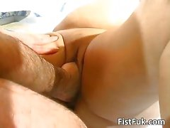 Busty mature fatty gets her old pussy stuffed by Fist
