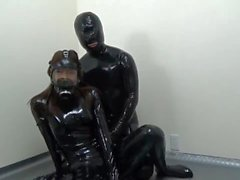 japanese gas mask latex hood catsuit blowjob