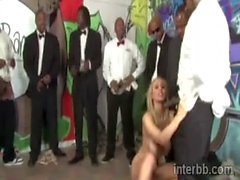 Blonde Julia Ann blowbanged by black men in tuxedos