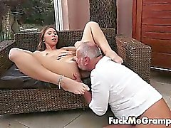 Grandpa Ben tasting fresh pussy
