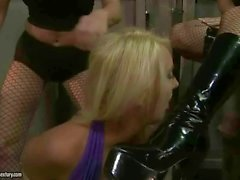 Two mistresses punishing a slavegirl