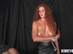 Redhead mistress bondage with cumshot