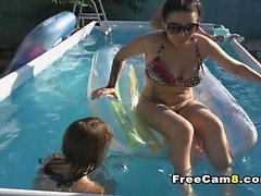 Teen Milf and Dude on Outdoor Pool Sex