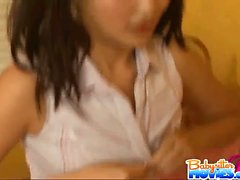 Pigtailed naughty babysitter Evelyn Ling getting fucked by