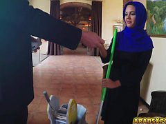 Arab gal got a job sucking a big cock with big balls