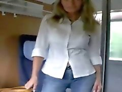 German blonde shows off in a train and much more