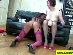 Mature stockings brit in trio riding on cock