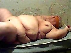 Bbw granny fucks on table