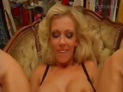 Two busty blonde lesbians lick a little pussy and then fist it