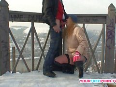 Blonde wife warms strangers cock in the snow