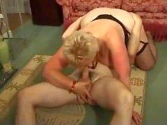 Short haired blonde BBW Granny