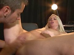 Naughty babe gives blowjob before wild fucking on the table