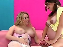 Foxy girls plow the biggest strap dildos and spray semen all