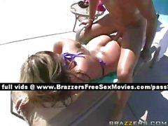 Teen blonde girl outside near a pool