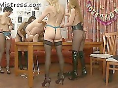 Guy fucked by four strapon babes