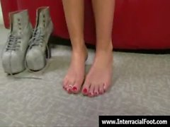Foot fetish - Sexy babes fucking cock with their feet 13