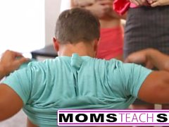 Step mom teaches teens how to have a threesome